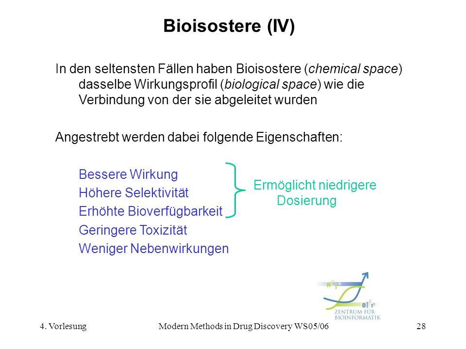 4. VorlesungModern Methods in Drug Discovery WS05/0628 Bioisostere (IV) In den seltensten Fällen haben Bioisostere (chemical space) dasselbe Wirkungsp
