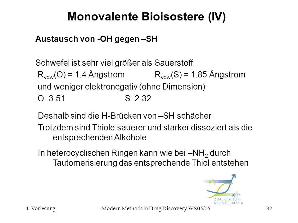 4. VorlesungModern Methods in Drug Discovery WS05/0632 Monovalente Bioisostere (IV) Austausch von -OH gegen –SH Schwefel ist sehr viel größer als Saue