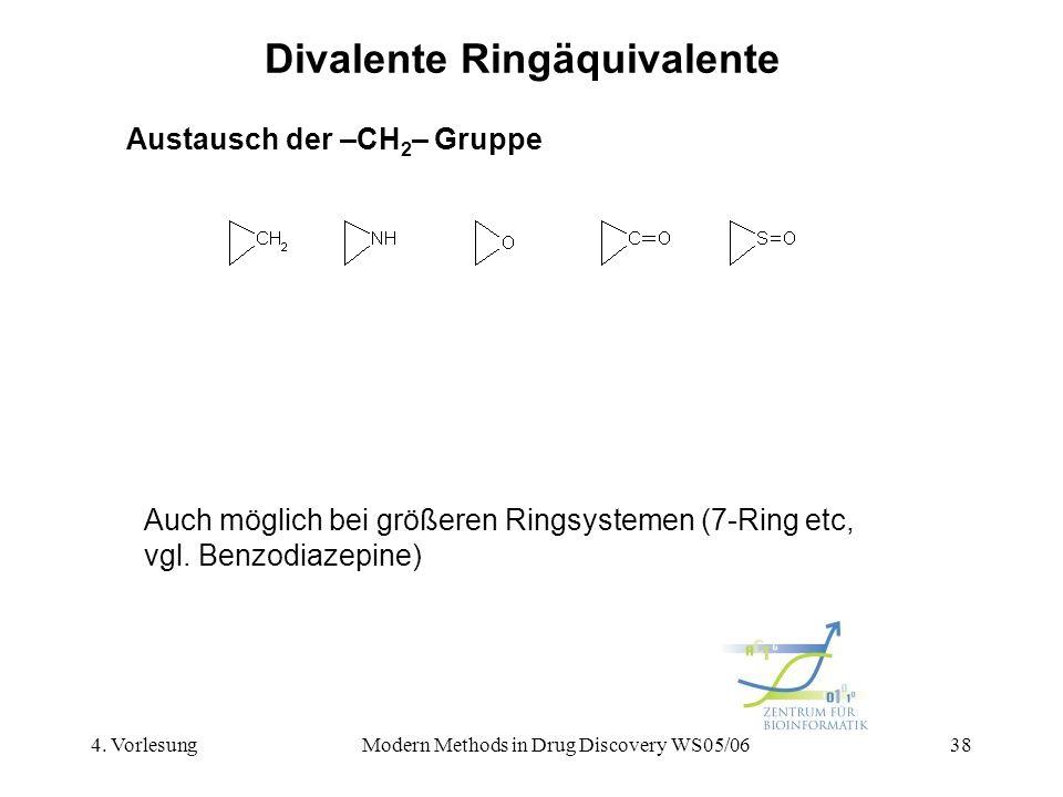4. VorlesungModern Methods in Drug Discovery WS05/0638 Divalente Ringäquivalente Austausch der –CH 2 – Gruppe Auch möglich bei größeren Ringsystemen (