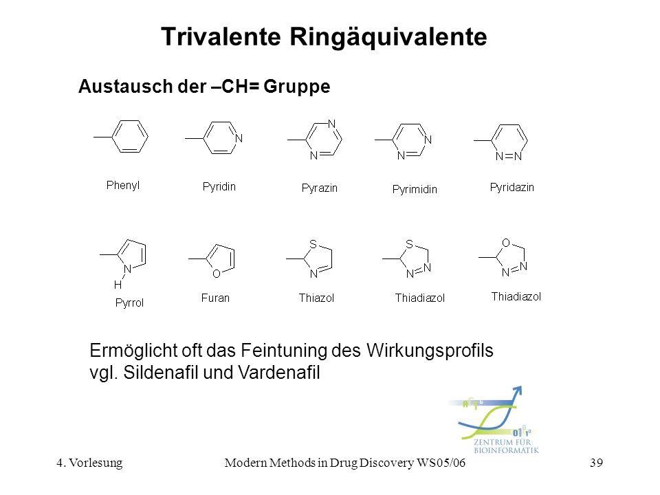 4. VorlesungModern Methods in Drug Discovery WS05/0639 Trivalente Ringäquivalente Austausch der –CH= Gruppe Ermöglicht oft das Feintuning des Wirkungs