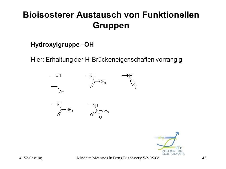 4. VorlesungModern Methods in Drug Discovery WS05/0643 Bioisosterer Austausch von Funktionellen Gruppen Hydroxylgruppe –OH Hier: Erhaltung der H-Brück