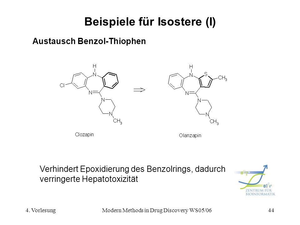 4. VorlesungModern Methods in Drug Discovery WS05/0644 Beispiele für Isostere (I) Austausch Benzol-Thiophen Verhindert Epoxidierung des Benzolrings, d