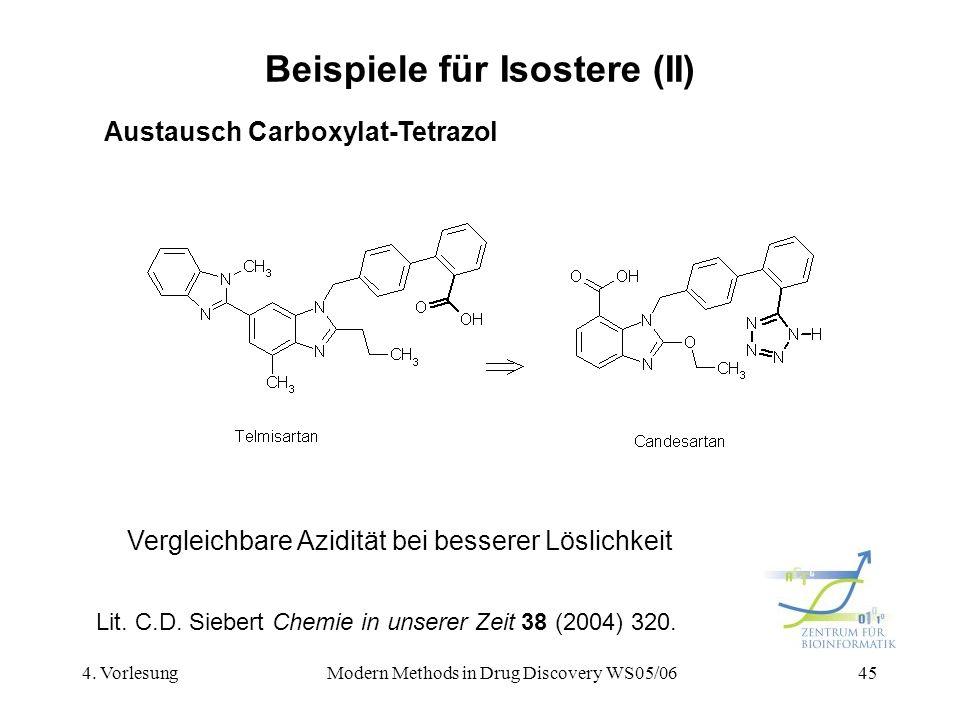 4. VorlesungModern Methods in Drug Discovery WS05/0645 Beispiele für Isostere (II) Austausch Carboxylat-Tetrazol Vergleichbare Azidität bei besserer L