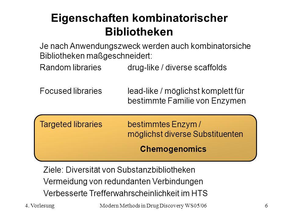 4. VorlesungModern Methods in Drug Discovery WS05/066 Eigenschaften kombinatorischer Bibliotheken Je nach Anwendungszweck werden auch kombinatorsiche
