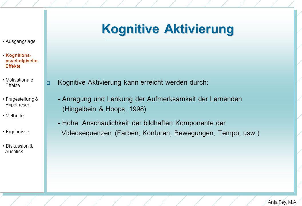 Anja Fey, M.A. Kognitive Aktivierung Kognitive Aktivierung kann erreicht werden durch: - Anregung und Lenkung der Aufmerksamkeit der Lernenden (Hingel