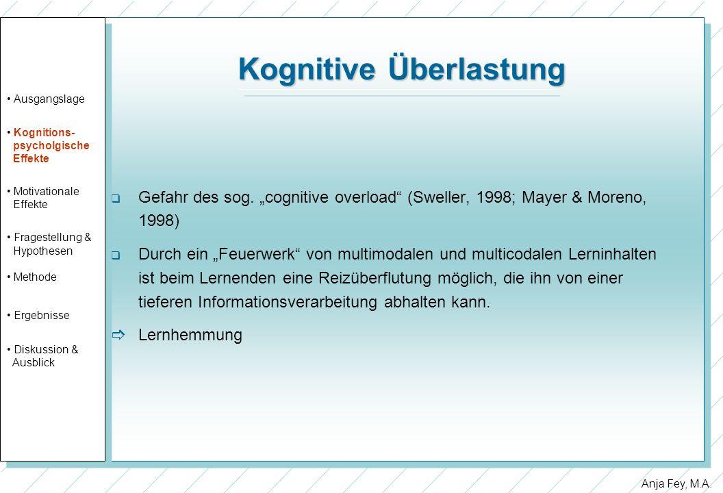 Anja Fey, M.A. Kognitive Überlastung Gefahr des sog. cognitive overload (Sweller, 1998; Mayer & Moreno, 1998) Durch ein Feuerwerk von multimodalen und