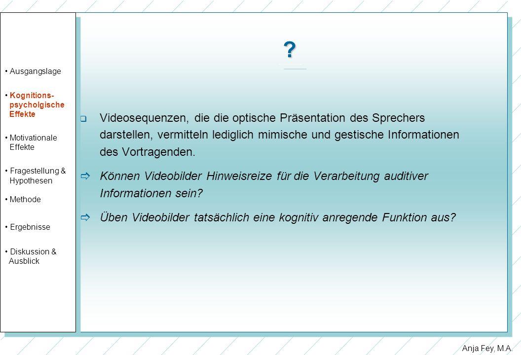 Anja Fey, M.A. ? Videosequenzen, die die optische Präsentation des Sprechers darstellen, vermitteln lediglich mimische und gestische Informationen des