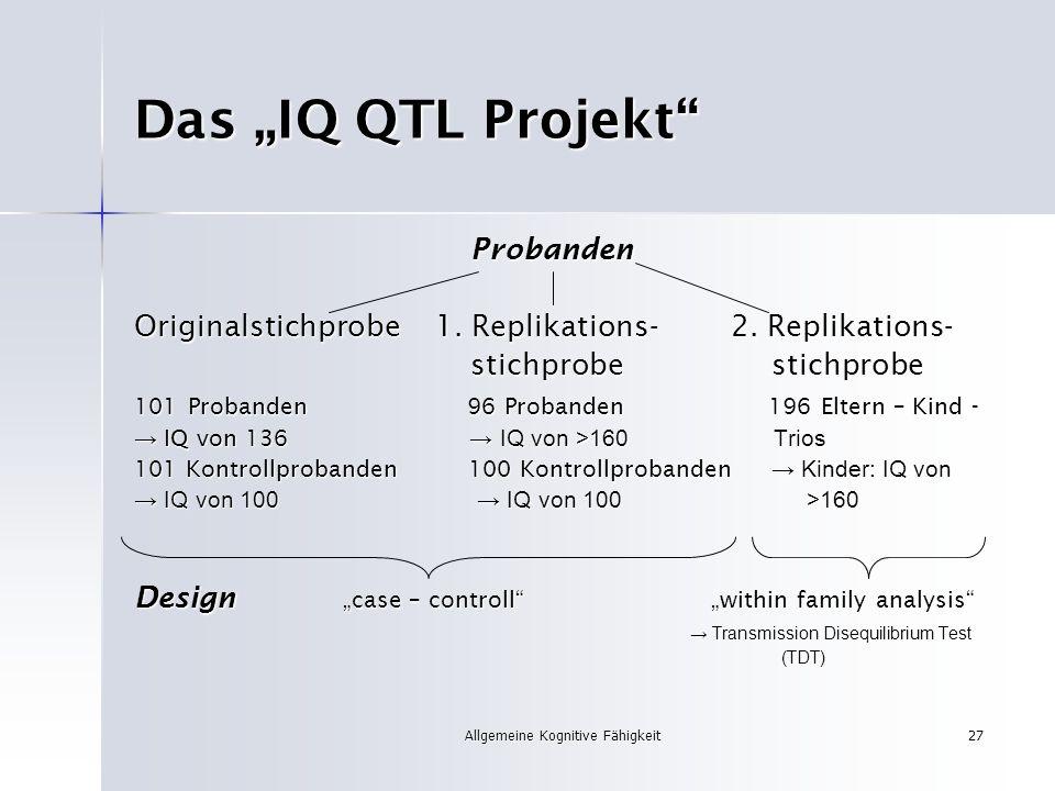 Allgemeine Kognitive Fähigkeit27 Das IQ QTL Projekt Probanden Probanden Originalstichprobe 1. Replikations- 2. Replikations- stichprobe stichprobe sti