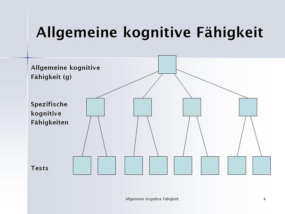 Allgemeine Kognitive Fähigkeit4 Allgemeine kognitive Fähigkeit Allgemeine kognitive Fähigkeit (g) SpezifischekognitiveFähigkeitenTests