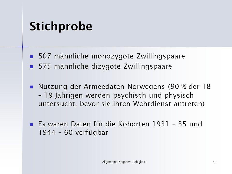 Allgemeine Kognitive Fähigkeit40 Stichprobe 507 männliche monozygote Zwillingspaare 507 männliche monozygote Zwillingspaare 575 männliche dizygote Zwi