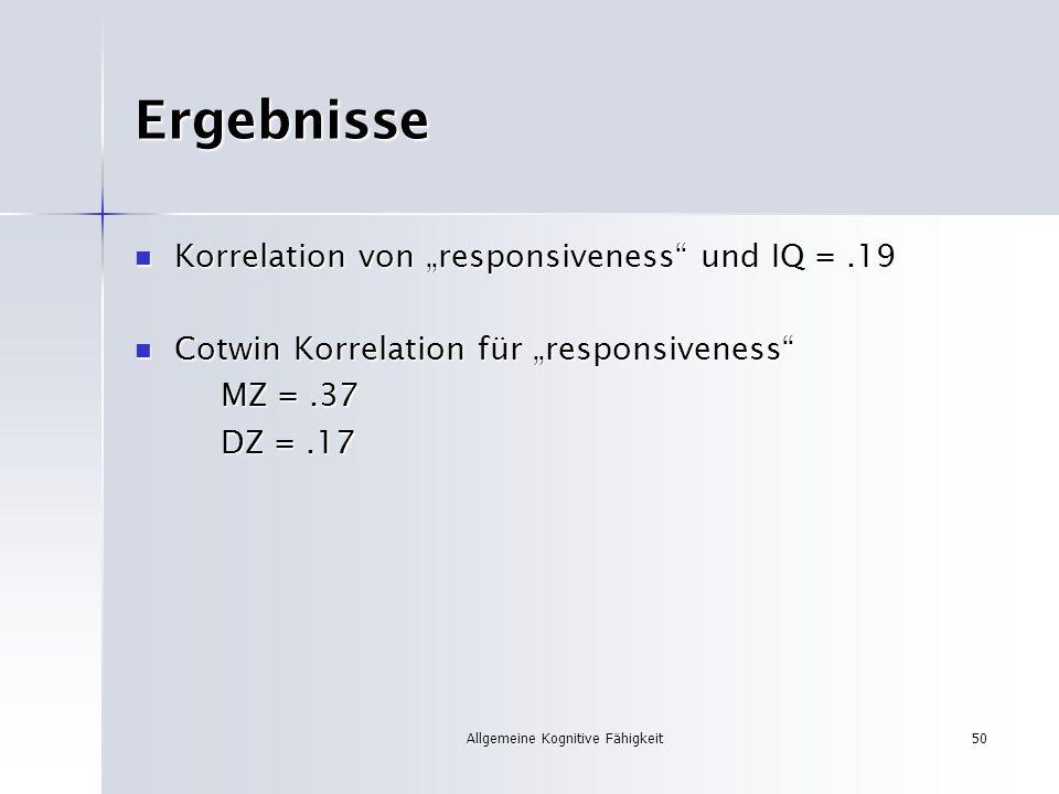 Allgemeine Kognitive Fähigkeit50 Ergebnisse Korrelation von responsiveness und IQ =.19 Korrelation von responsiveness und IQ =.19 Cotwin Korrelation f