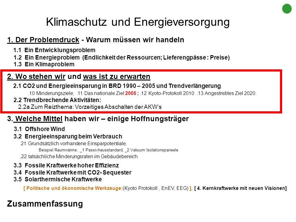 Klimaschutz und Energieversorgung 1. Der Problemdruck - Warum müssen wir handeln 1.1 Ein Entwicklungsproblem 1.2 Ein Energieproblem (Endlichkeit der R