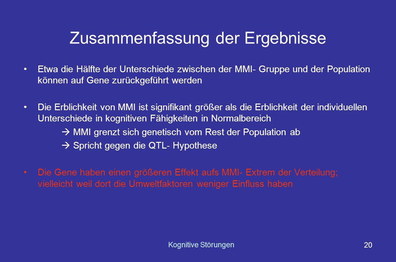 Kognitive Störungen 19 Umwelt- vs.