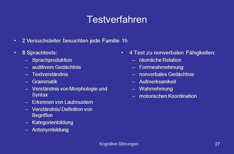 Kognitive Störungen 26 Probanden Tests zu verbalen und nonverbalen Fähigkeiten mit 1662 4,5jährigen TEDS- Zwillingen Ausgeschlossen wurden Kinder...