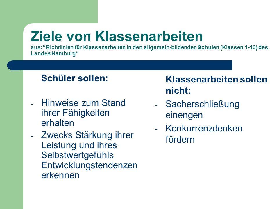 Ziele von Klassenarbeiten aus : Richtlinien für Klassenarbeiten in den allgemein-bildenden Schulen (Klassen 1-10) des Landes Hamburg Schüler sollen: - Hinweise zum Stand ihrer Fähigkeiten erhalten - Zwecks Stärkung ihrer Leistung und ihres Selbstwertgefühls Entwicklungstendenzen erkennen Klassenarbeiten sollen nicht: - Sacherschließung einengen - Konkurrenzdenken fördern