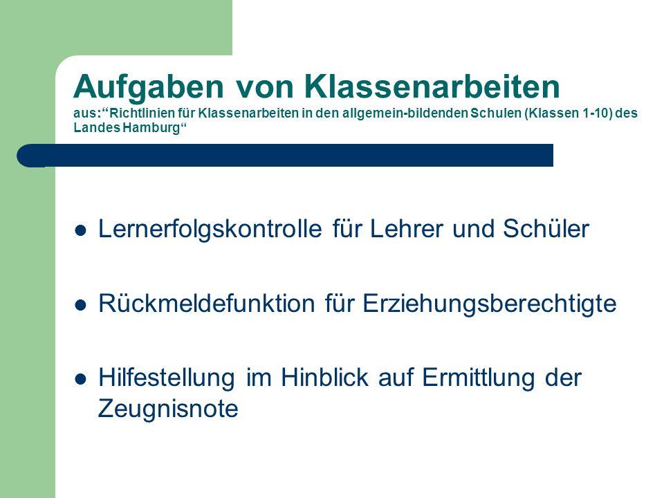 Merkmale aus : Richtlinien für Klassenarbeiten in den allgemein-bildenden Schulen (Klassen 1-10) des Landes Hamburg Schriftliche Lernerfolgskontrolle der gesamten Klasse unter Aufsicht, vorher festgelegte Bedingungen, Ergebnis zeugnisrelevant.