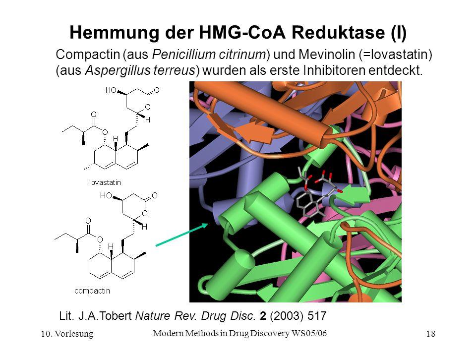 10. Vorlesung Modern Methods in Drug Discovery WS05/06 18 Hemmung der HMG-CoA Reduktase (I) Compactin (aus Penicillium citrinum) und Mevinolin (=lovas