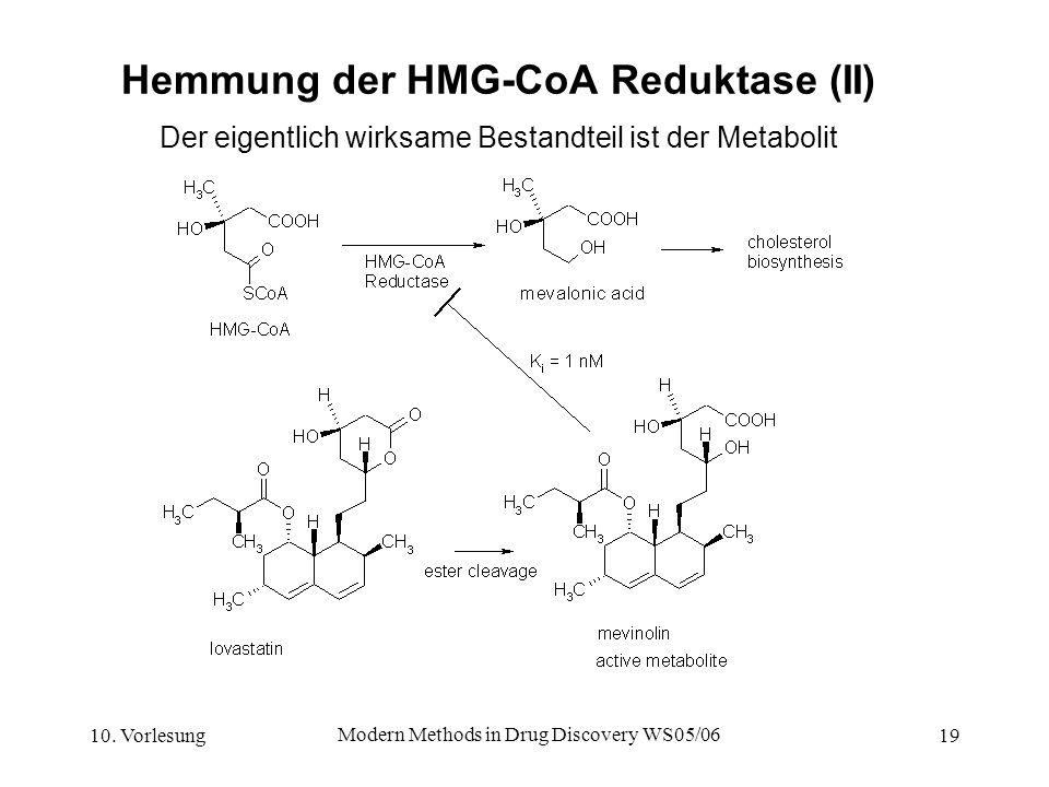 10. Vorlesung Modern Methods in Drug Discovery WS05/06 19 Hemmung der HMG-CoA Reduktase (II) Der eigentlich wirksame Bestandteil ist der Metabolit