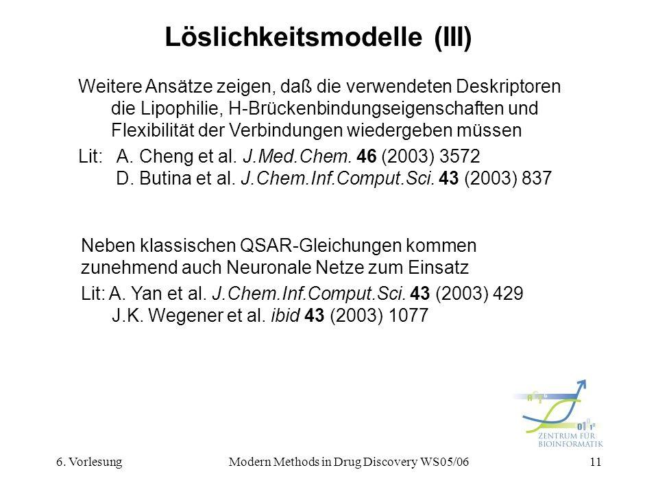 6. VorlesungModern Methods in Drug Discovery WS05/0611 Löslichkeitsmodelle (III) Weitere Ansätze zeigen, daß die verwendeten Deskriptoren die Lipophil