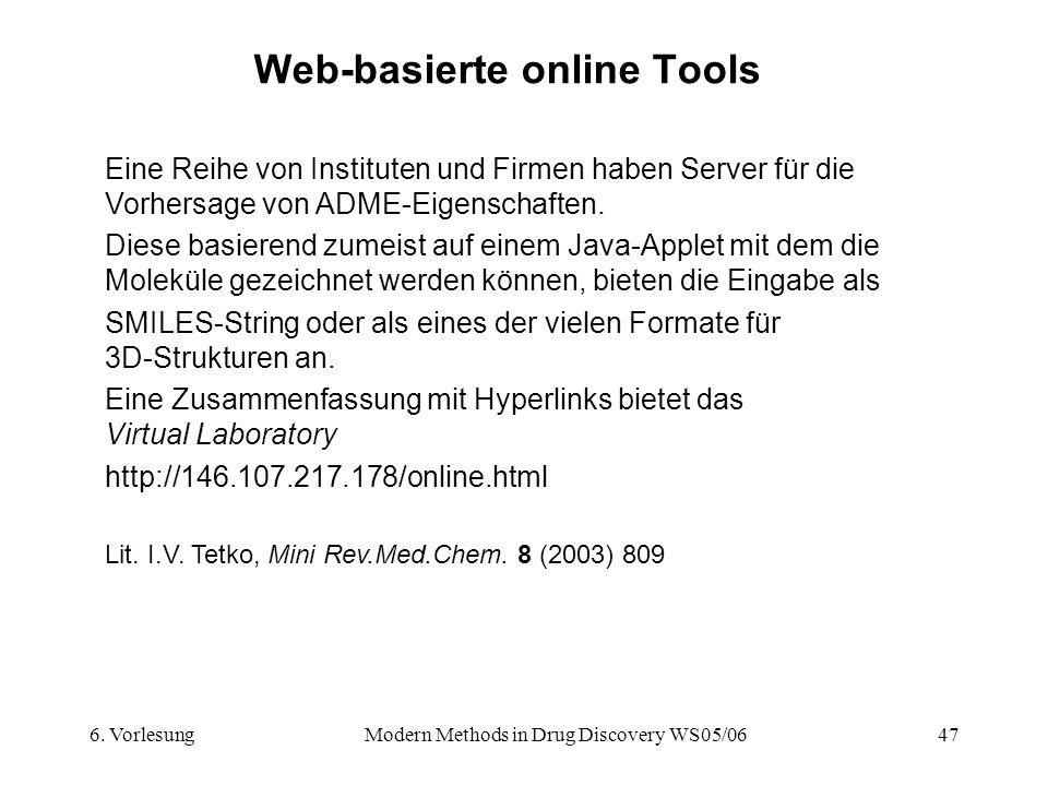 6. VorlesungModern Methods in Drug Discovery WS05/0647 Web-basierte online Tools Lit. I.V. Tetko, Mini Rev.Med.Chem. 8 (2003) 809 Eine Reihe von Insti