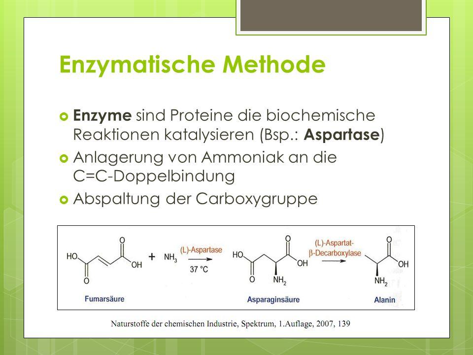 Enzymatische Methode Enzyme sind Proteine die biochemische Reaktionen katalysieren (Bsp.: Aspartase ) Anlagerung von Ammoniak an die C=C-Doppelbindung Abspaltung der Carboxygruppe