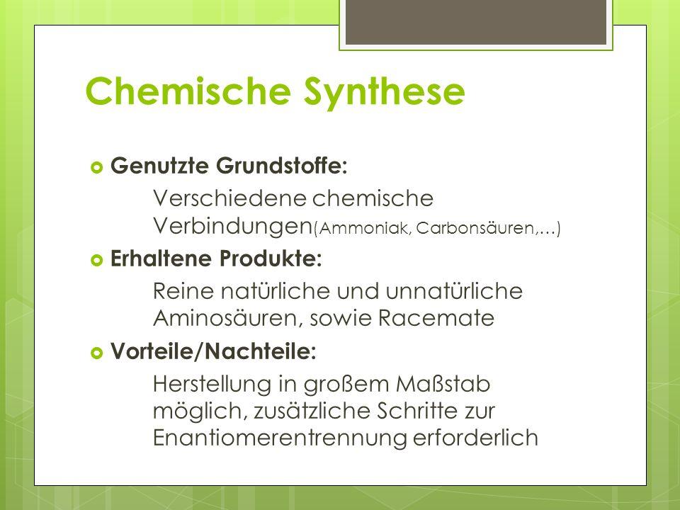 Chemische Synthese Genutzte Grundstoffe: Verschiedene chemische Verbindungen (Ammoniak, Carbonsäuren,…) Erhaltene Produkte: Reine natürliche und unnat