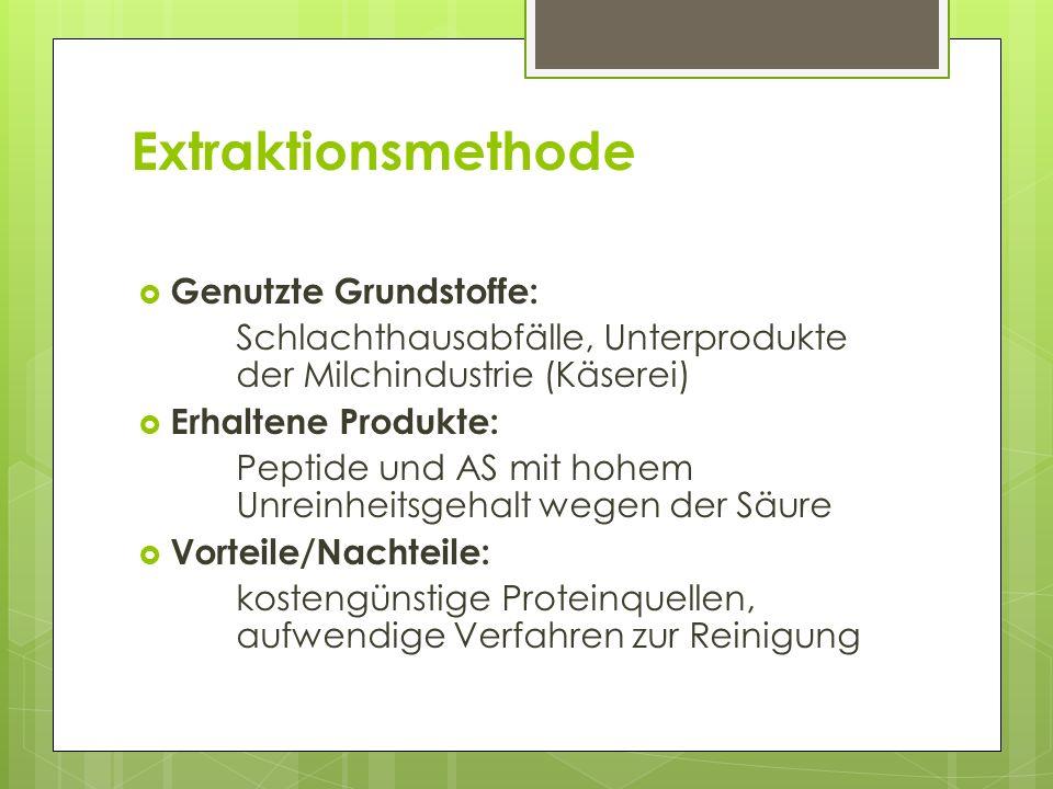 Extraktionsmethode Genutzte Grundstoffe: Schlachthausabfälle, Unterprodukte der Milchindustrie (Käserei) Erhaltene Produkte: Peptide und AS mit hohem Unreinheitsgehalt wegen der Säure Vorteile/Nachteile: kostengünstige Proteinquellen, aufwendige Verfahren zur Reinigung