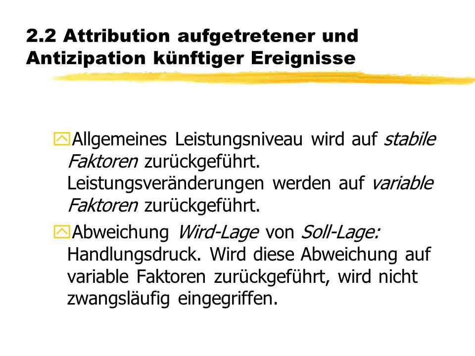 2.2 Attribution aufgetretener und Antizipation künftiger Ereignisse yAllgemeines Leistungsniveau wird auf stabile Faktoren zurückgeführt.