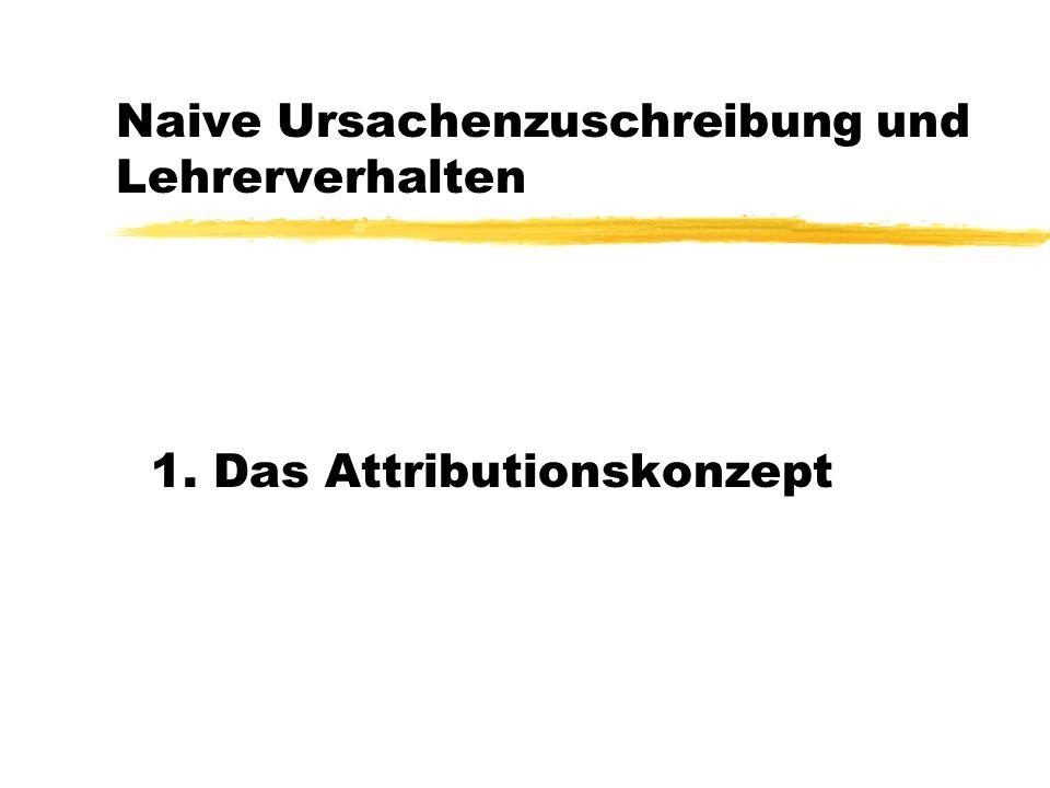 Naive Ursachenzuschreibung und Lehrerverhalten 1. Das Attributionskonzept
