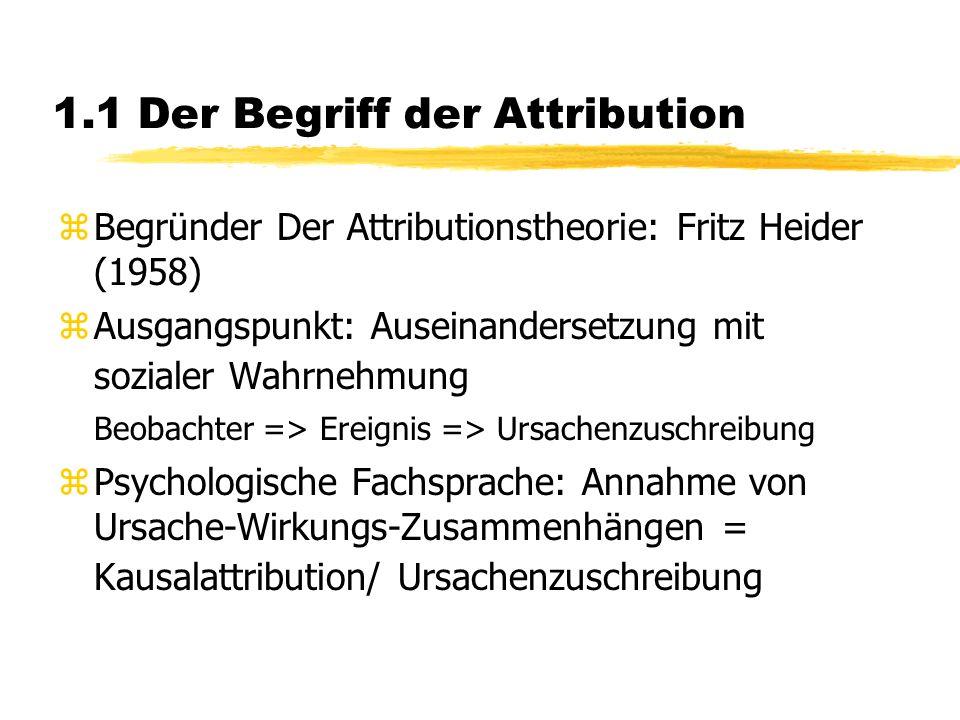 1.1 Der Begriff der Attribution zBegründer Der Attributionstheorie: Fritz Heider (1958) zAusgangspunkt: Auseinandersetzung mit sozialer Wahrnehmung Beobachter => Ereignis => Ursachenzuschreibung zPsychologische Fachsprache: Annahme von Ursache-Wirkungs-Zusammenhängen = Kausalattribution/ Ursachenzuschreibung
