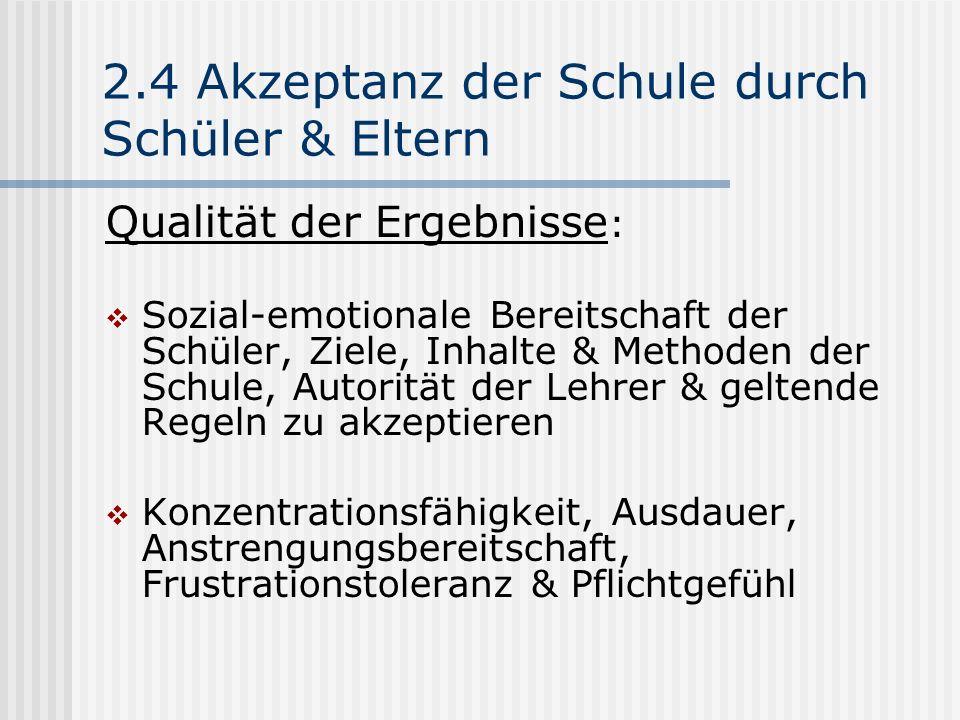 2.4 Akzeptanz der Schule durch Schüler & Eltern Qualität der Ergebnisse : Sozial-emotionale Bereitschaft der Schüler, Ziele, Inhalte & Methoden der Sc