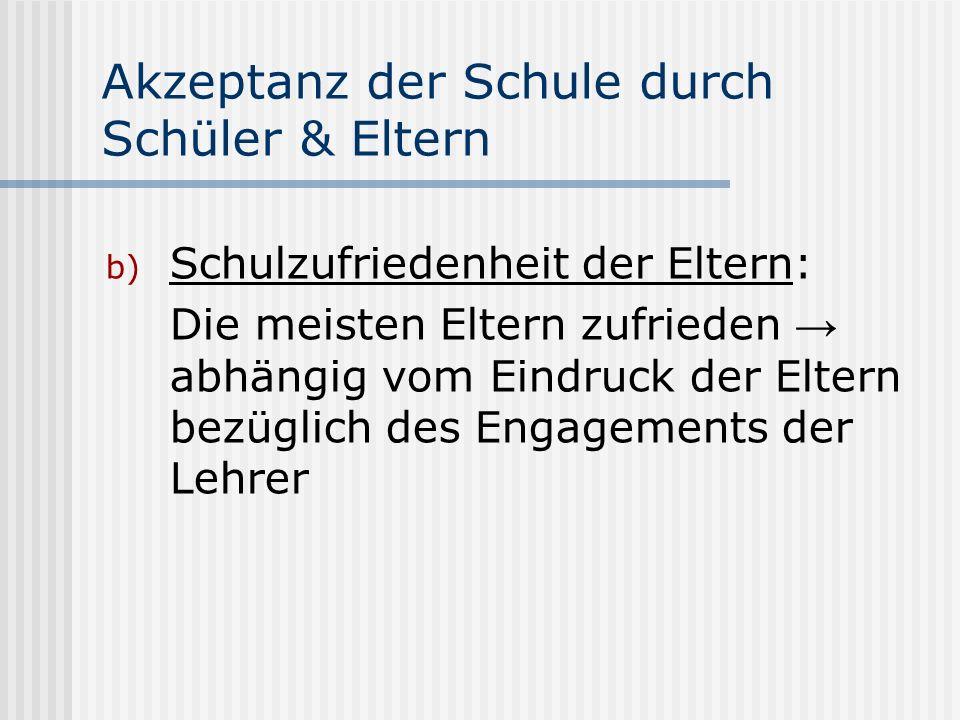 Akzeptanz der Schule durch Schüler & Eltern b) Schulzufriedenheit der Eltern: Die meisten Eltern zufrieden abhängig vom Eindruck der Eltern bezüglich des Engagements der Lehrer