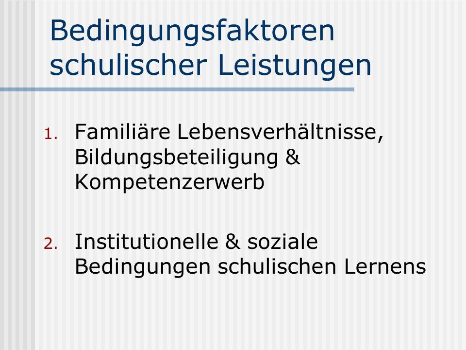 Bedingungsfaktoren schulischer Leistungen 1. Familiäre Lebensverhältnisse, Bildungsbeteiligung & Kompetenzerwerb 2. Institutionelle & soziale Bedingun