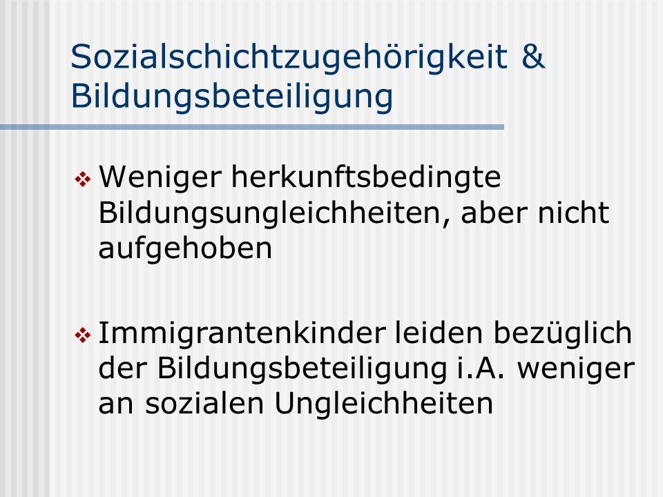 Sozialschichtzugehörigkeit & Bildungsbeteiligung Weniger herkunftsbedingte Bildungsungleichheiten, aber nicht aufgehoben Immigrantenkinder leiden bezü