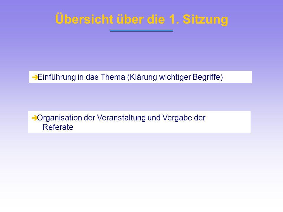 Einführung in das Thema (Klärung wichtiger Begriffe) Organisation der Veranstaltung und Vergabe der Referate Übersicht über die 1. Sitzung