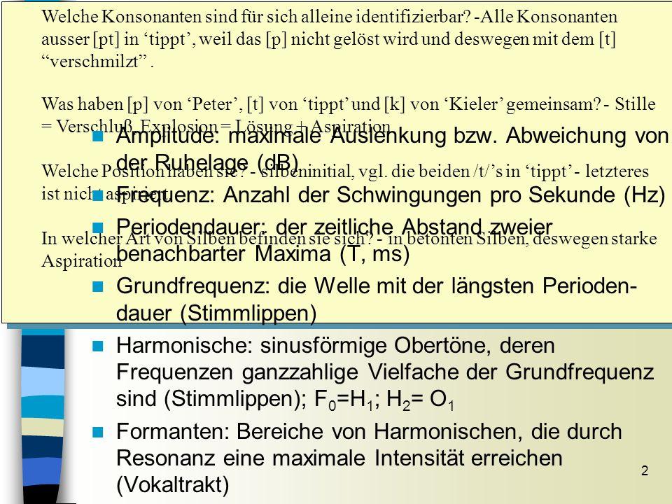 2 Grundbegriffe Sitzung 7 Welche Konsonanten sind für sich alleine identifizierbar? -Alle Konsonanten ausser [pt] in tippt, weil das [p] nicht gelöst