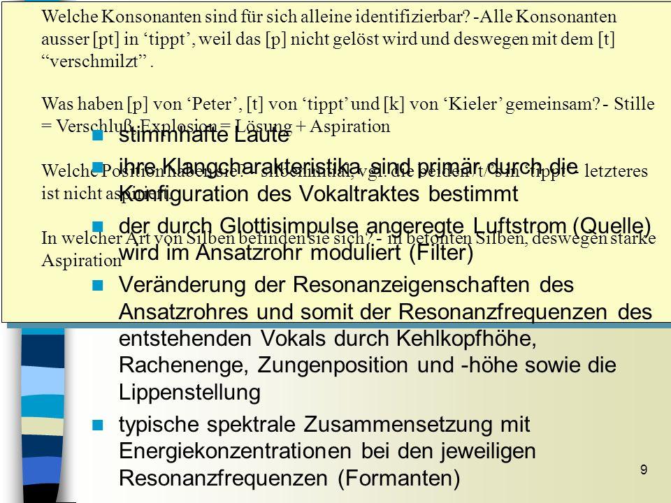 9 Vokale im Spektrogramm Sitzung 7 Welche Konsonanten sind für sich alleine identifizierbar? -Alle Konsonanten ausser [pt] in tippt, weil das [p] nich