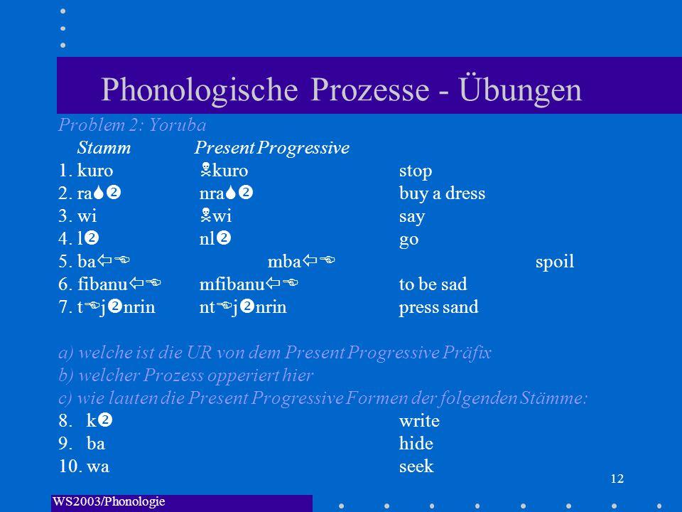 WS2003/Phonologie I/Andreeva 12 Phonologische Prozesse - Übungen Problem 2: Yoruba StammPresent Progressive 1. kuro kuro stop 2. ra nra buy a dress 3.