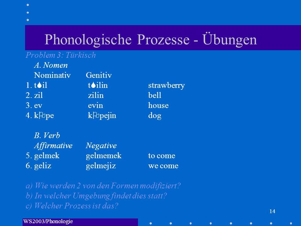 WS2003/Phonologie I/Andreeva 14 Phonologische Prozesse - Übungen Problem 3: Türkisch A. Nomen NominativGenitiv 1. t il t ilin strawberry 2. zil zilin