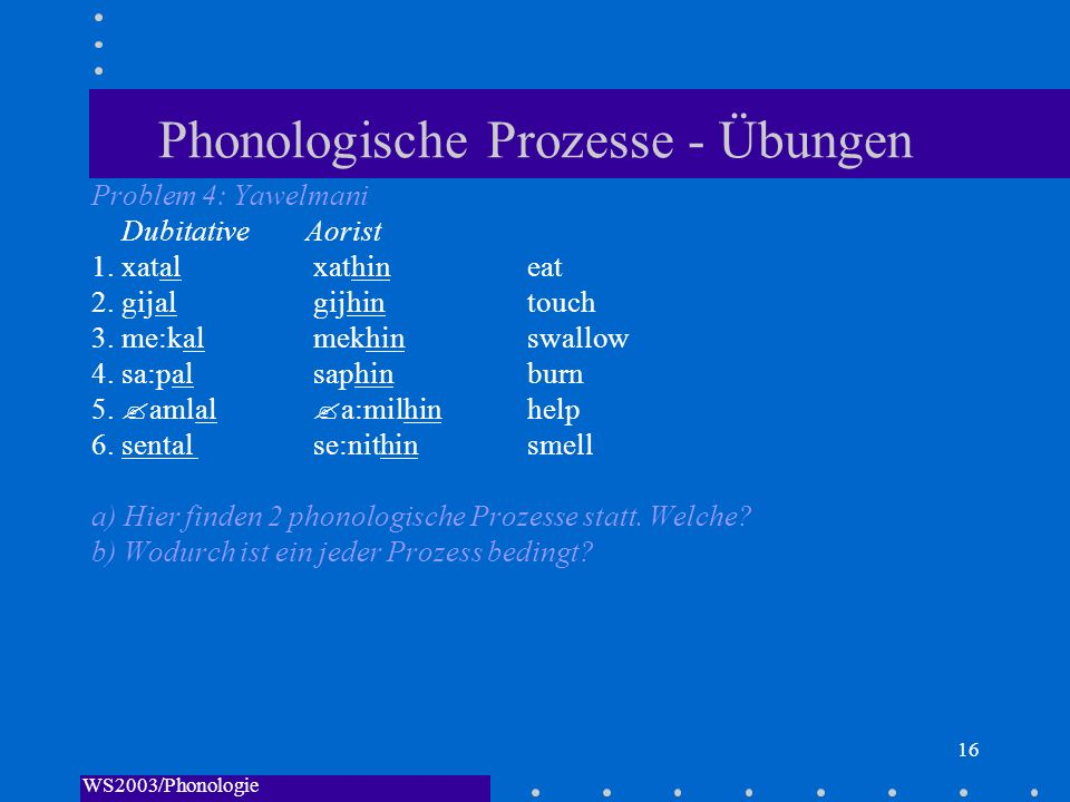 WS2003/Phonologie I/Andreeva 16 Phonologische Prozesse - Übungen Problem 4: Yawelmani DubitativeAorist 1. xatal xathin eat 2. gijal gijhin touch 3. me