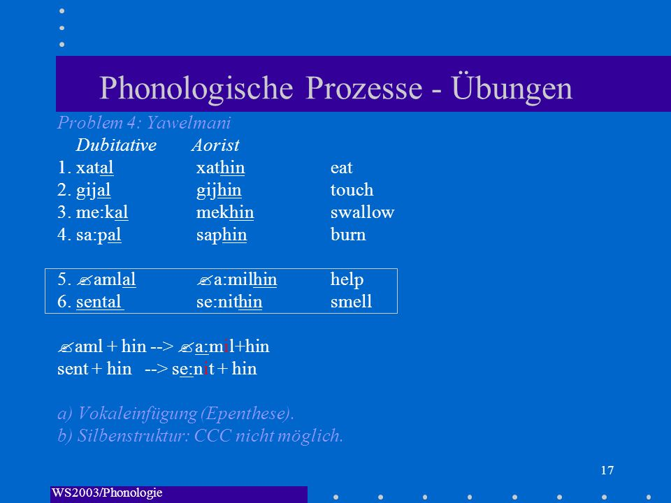 WS2003/Phonologie I/Andreeva 17 Phonologische Prozesse - Übungen Problem 4: Yawelmani DubitativeAorist 1. xatal xathin eat 2. gijal gijhin touch 3. me