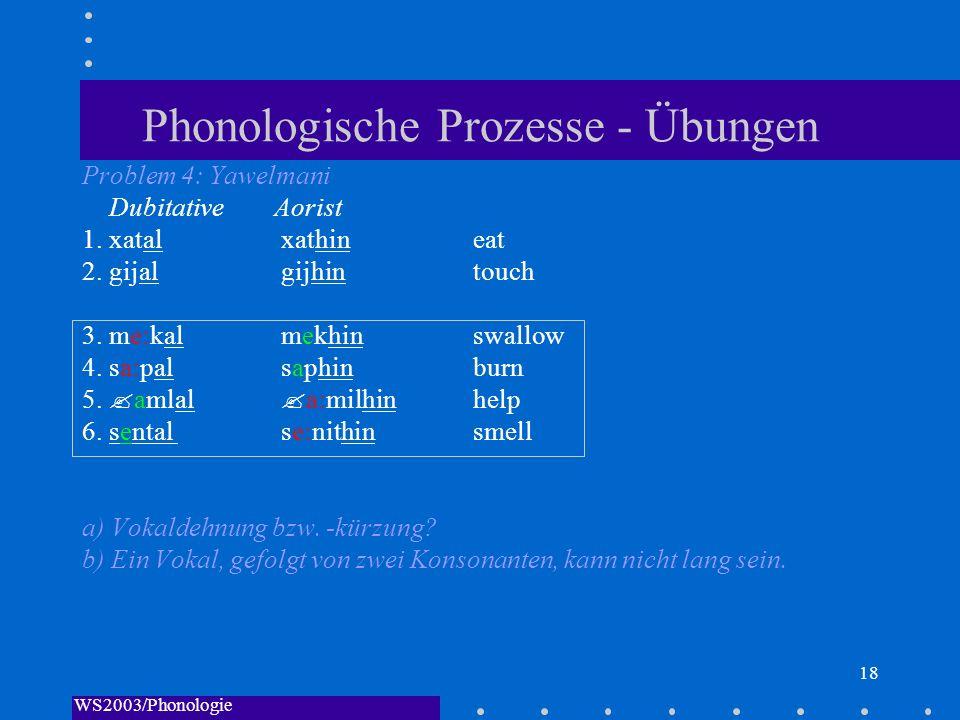 WS2003/Phonologie I/Andreeva 18 Phonologische Prozesse - Übungen Problem 4: Yawelmani DubitativeAorist 1. xatal xathin eat 2. gijal gijhin touch 3. me