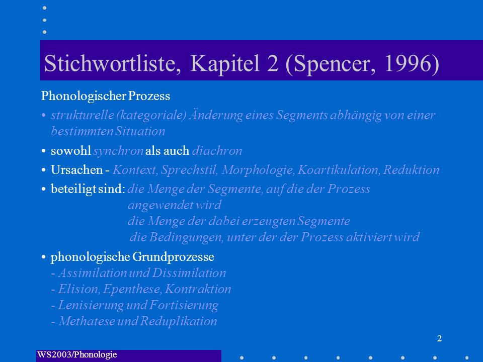 WS2003/Phonologie I/Andreeva 2 Stichwortliste, Kapitel 2 (Spencer, 1996) Phonologischer Prozess strukturelle (kategoriale) Änderung eines Segments abh
