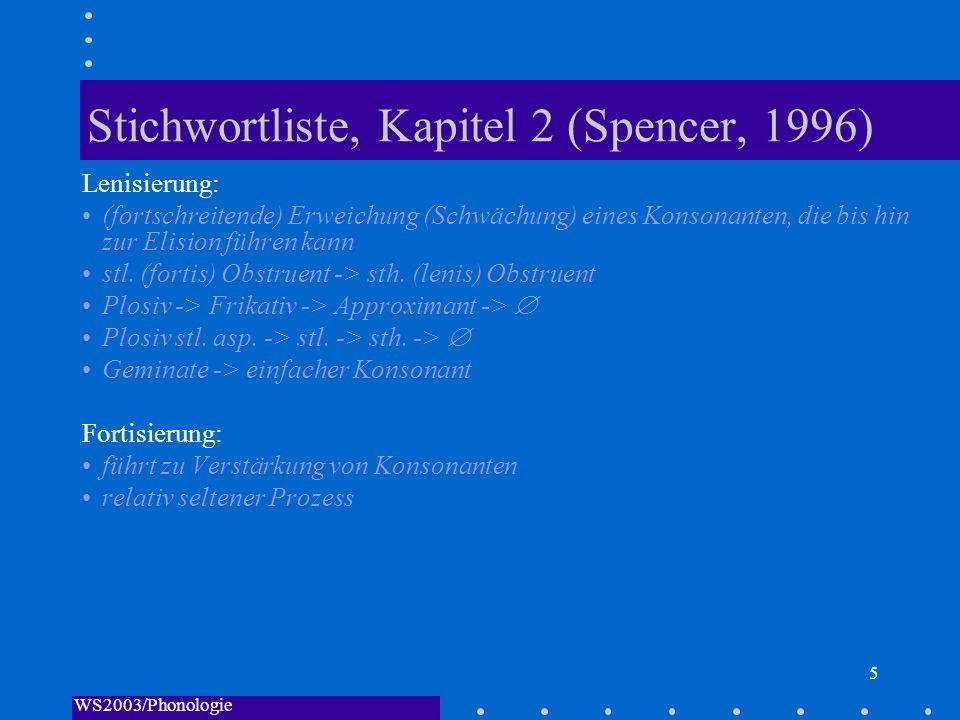 WS2003/Phonologie I/Andreeva 5 Stichwortliste, Kapitel 2 (Spencer, 1996) Lenisierung: (fortschreitende) Erweichung (Schwächung) eines Konsonanten, die