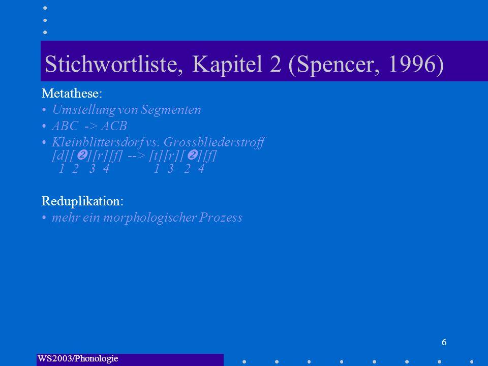 WS2003/Phonologie I/Andreeva 7 Stichwortliste, Kapitel 2 (Spencer, 1996) Derivation: UR=>Derivation=>SR Ein phonologischer Prozess bringt es mit sich, dass von dem gleichen Wort mehrere Ausspracheformen nebeneinander bestehen Grundform //underlying form/representation/UR//: die Ausspracheform vor Einsetzen eines phonologischen Prozesses //fa v// abgeleitete Form [surface form/representation, SR; derived form]: die Ausspracheform nach Ablauf eines phonologischen Prozesses [fa fpast] Ableitung [derivaton]: der Prozess, der die UR in die SR überführt Regelanordnung Wenn mehrere Regeln angewendet werden