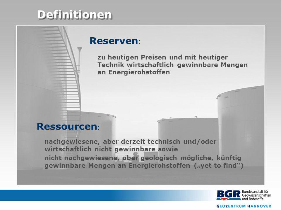 DefinitionenDefinitionen zu heutigen Preisen und mit heutiger Technik wirtschaftlich gewinnbare Mengen an Energierohstoffen Reserven : nachgewiesene,