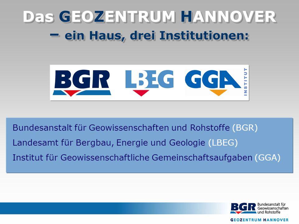 Das GEOZENTRUM HANNOVER – ein Haus, drei Institutionen: Bundesanstalt für Geowissenschaften und Rohstoffe (BGR) Landesamt für Bergbau, Energie und Geologie (LBEG) Institut für Geowissenschaftliche Gemeinschaftsaufgaben (GGA)