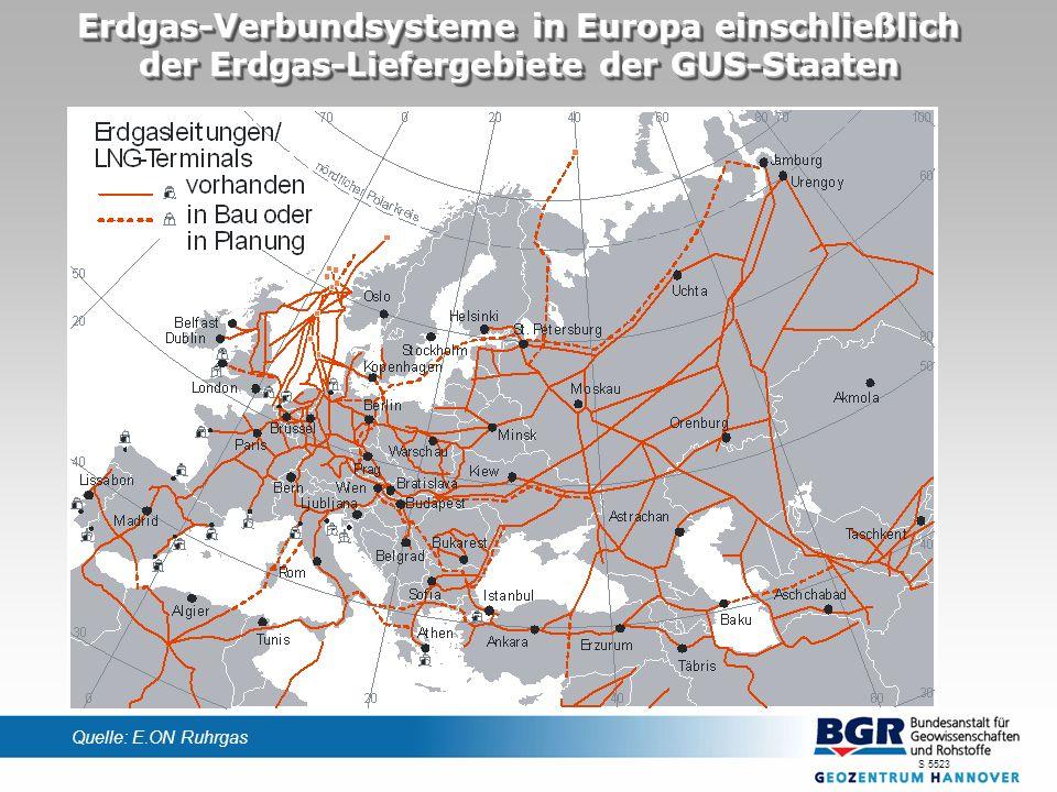 Erdgas-Verbundsysteme in Europa einschließlich der Erdgas-Liefergebiete der GUS-Staaten S 5523 Quelle: E.ON Ruhrgas