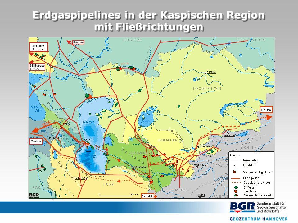 Erdgaspipelines in der Kaspischen Region mit Fließrichtungen Erdgaspipelines in der Kaspischen Region mit Fließrichtungen