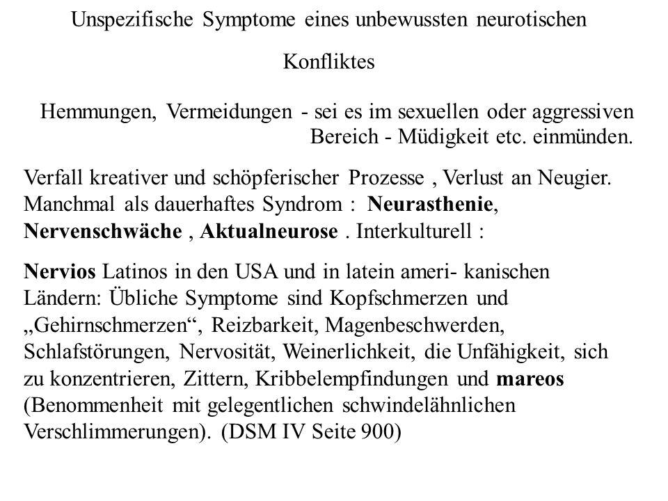 Unspezifische Symptome eines unbewussten neurotischen Konfliktes Hemmungen, Vermeidungen - sei es im sexuellen oder aggressiven Bereich - Müdigkeit etc.